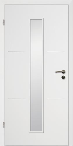 Designtürelement Weißlack CPL mit Edelstahllisene 3 LA 4
