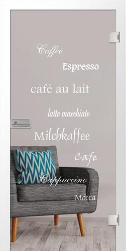 Ganzglastür Cafe 2 Motiv matt