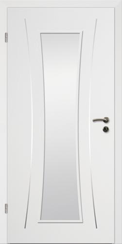 Designtürelement Weißlack CPL mit Edelstahllisene 11 LA 42