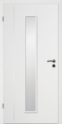 Designtürelement Weißlack CPL mit Edelstahllisene 4 LA 4